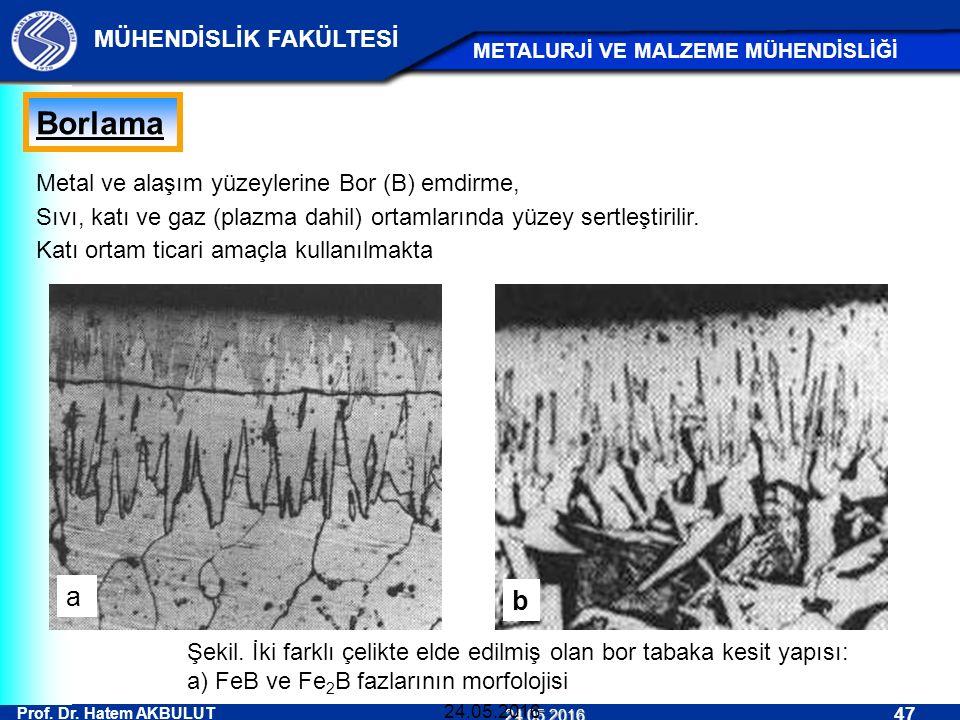 Prof. Dr. Hatem AKBULUT 47 MÜHENDİSLİK FAKÜLTESİ METALURJİ VE MALZEME MÜHENDİSLİĞİ 24.05.2016 24.05.2016 Borlama Metal ve alaşım yüzeylerine Bor (B) e