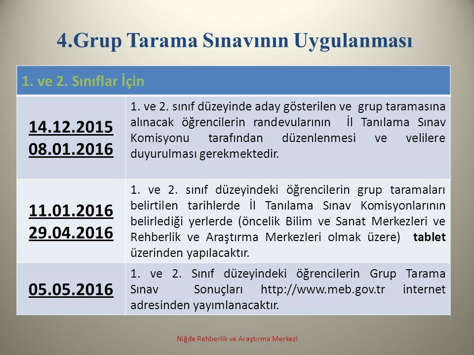 4.Grup Tarama Sınavının Uygulanması 1. ve 2. Sınıflar İçin 14.12.2015 08.01.2016 1.