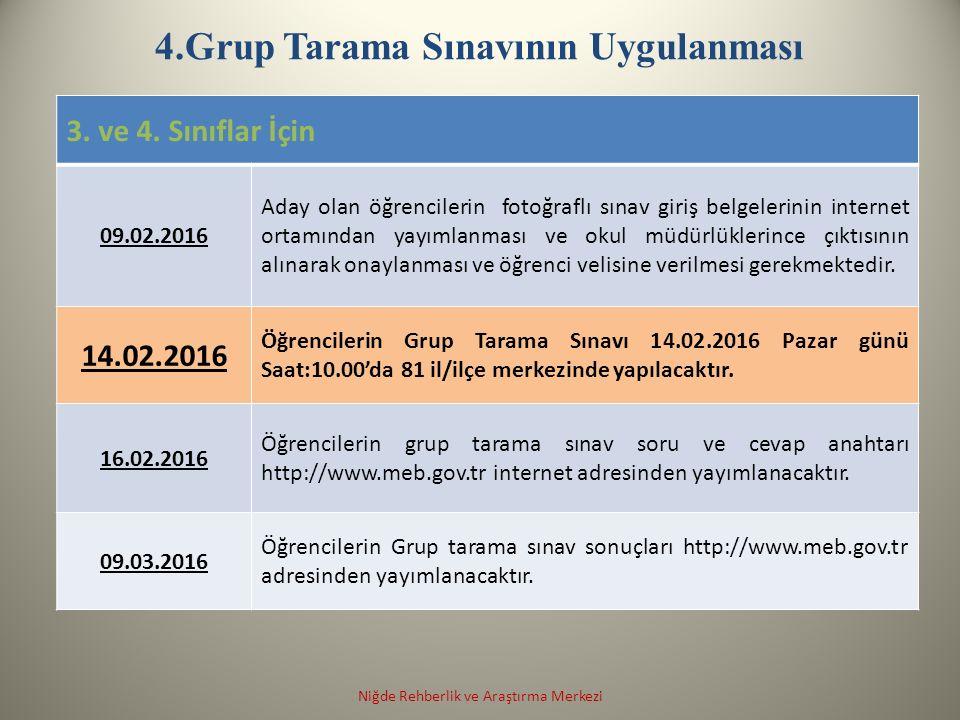 4.Grup Tarama Sınavının Uygulanması 3. ve 4.