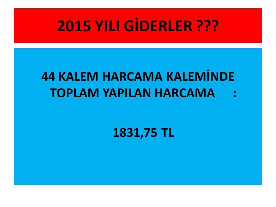 2015 YILI GİDERLER ??? 44 KALEM HARCAMA KALEMİNDE TOPLAM YAPILAN HARCAMA: 1831,75 TL