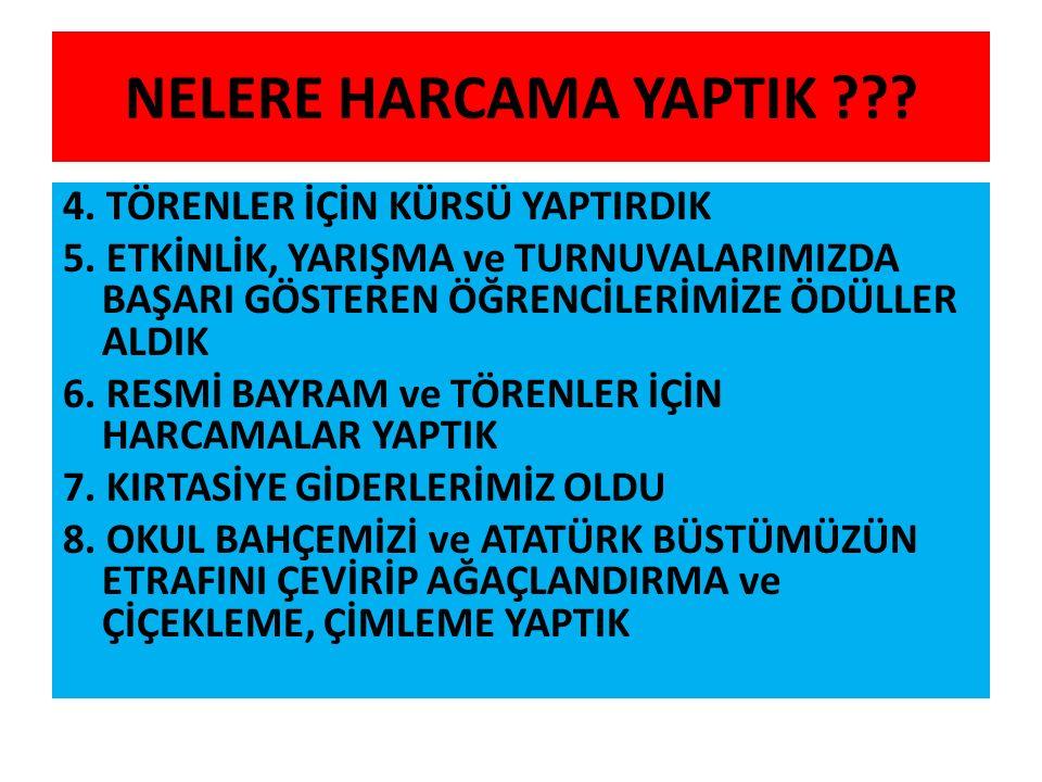 NELERE HARCAMA YAPTIK . 4. TÖRENLER İÇİN KÜRSÜ YAPTIRDIK 5.