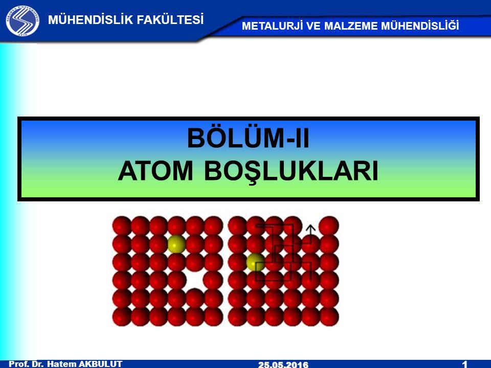Prof. Dr. Hatem AKBULUT 1 MÜHENDİSLİK FAKÜLTESİ METALURJİ VE MALZEME MÜHENDİSLİĞİ 25.05.2016 BÖLÜM-II ATOM BOŞLUKLARI