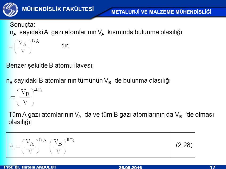 Prof. Dr. Hatem AKBULUT 17 MÜHENDİSLİK FAKÜLTESİ METALURJİ VE MALZEME MÜHENDİSLİĞİ 25.05.2016 Tüm A gazı atomlarının V A da ve tüm B gazı atomlarının
