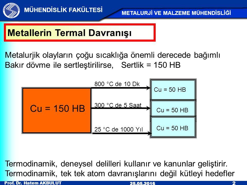 Prof. Dr. Hatem AKBULUT 2 MÜHENDİSLİK FAKÜLTESİ METALURJİ VE MALZEME MÜHENDİSLİĞİ 25.05.2016 Metalurjik olayların çoğu sıcaklığa önemli derecede bağım