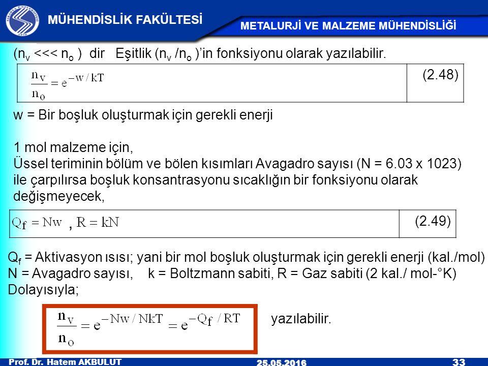 Prof. Dr. Hatem AKBULUT 33 MÜHENDİSLİK FAKÜLTESİ METALURJİ VE MALZEME MÜHENDİSLİĞİ 25.05.2016, (2.49) (2.48) (n v <<< n o ) dir Eşitlik (n v /n o )'in