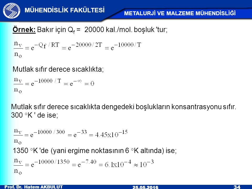 Prof. Dr. Hatem AKBULUT 34 MÜHENDİSLİK FAKÜLTESİ METALURJİ VE MALZEME MÜHENDİSLİĞİ 25.05.2016 Örnek: Bakır için Q f = 20000 kal./mol. boşluk 'tur; Mut