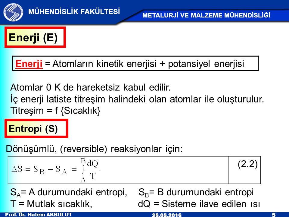 Prof. Dr. Hatem AKBULUT 5 MÜHENDİSLİK FAKÜLTESİ METALURJİ VE MALZEME MÜHENDİSLİĞİ 25.05.2016 Enerji (E) Enerji = Atomların kinetik enerjisi + potansiy