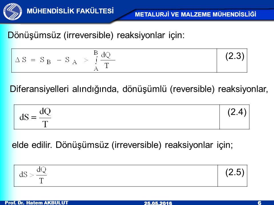 Prof. Dr. Hatem AKBULUT 6 MÜHENDİSLİK FAKÜLTESİ METALURJİ VE MALZEME MÜHENDİSLİĞİ 25.05.2016 (2.3) Dönüşümsüz (irreversible) reaksiyonlar için: Difera