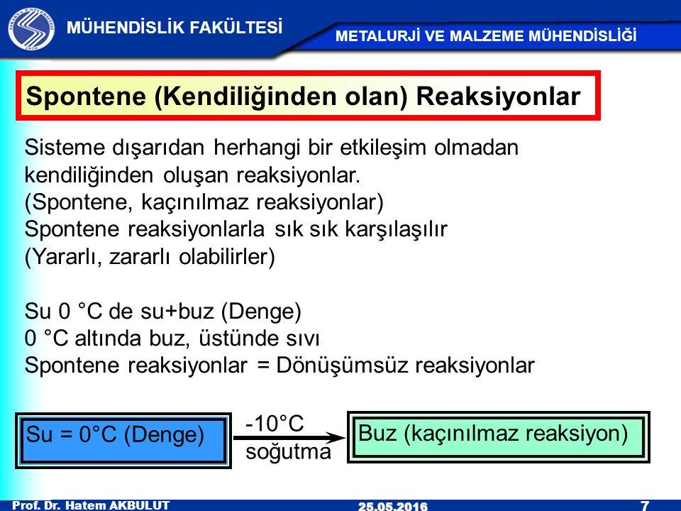 Prof. Dr. Hatem AKBULUT 7 MÜHENDİSLİK FAKÜLTESİ METALURJİ VE MALZEME MÜHENDİSLİĞİ 25.05.2016 Spontene (Kendiliğinden olan) Reaksiyonlar Sisteme dışarı