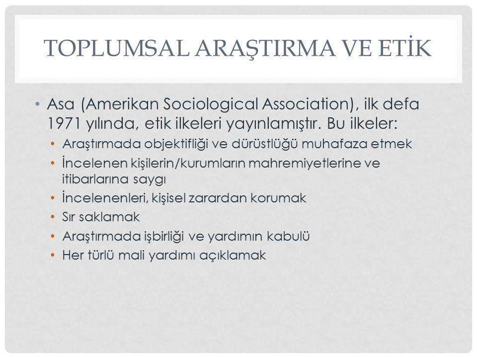 TOPLUMSAL ARAŞTIRMA VE ETİK Asa (Amerikan Sociological Association), ilk defa 1971 yılında, etik ilkeleri yayınlamıştır.