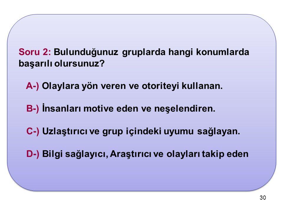30 Soru 2: Bulunduğunuz gruplarda hangi konumlarda başarılı olursunuz.