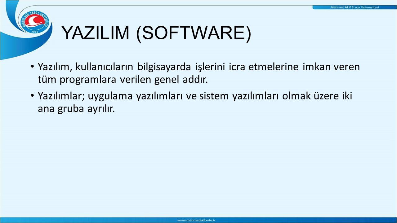 YAZILIM (SOFTWARE) Yazılım, kullanıcıların bilgisayarda işlerini icra etmelerine imkan veren tüm programlara verilen genel addır.