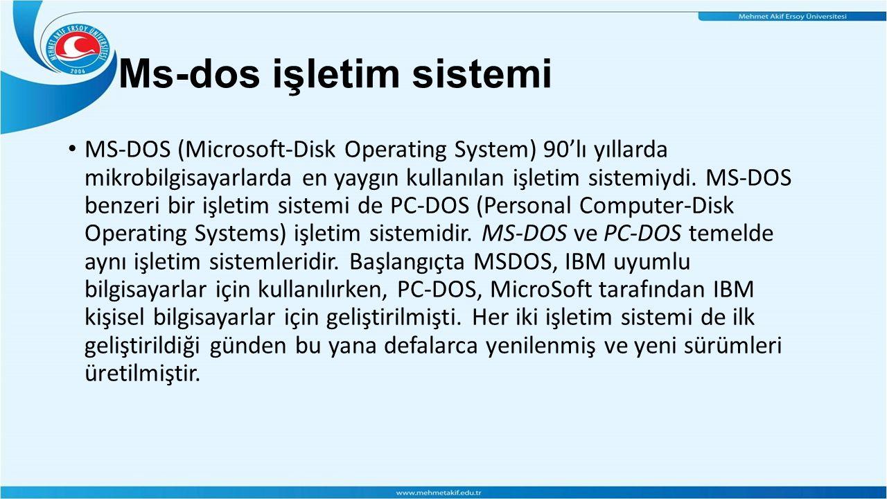 Ms-dos işletim sistemi MS-DOS (Microsoft-Disk Operating System) 90'lı yıllarda mikrobilgisayarlarda en yaygın kullanılan işletim sistemiydi.