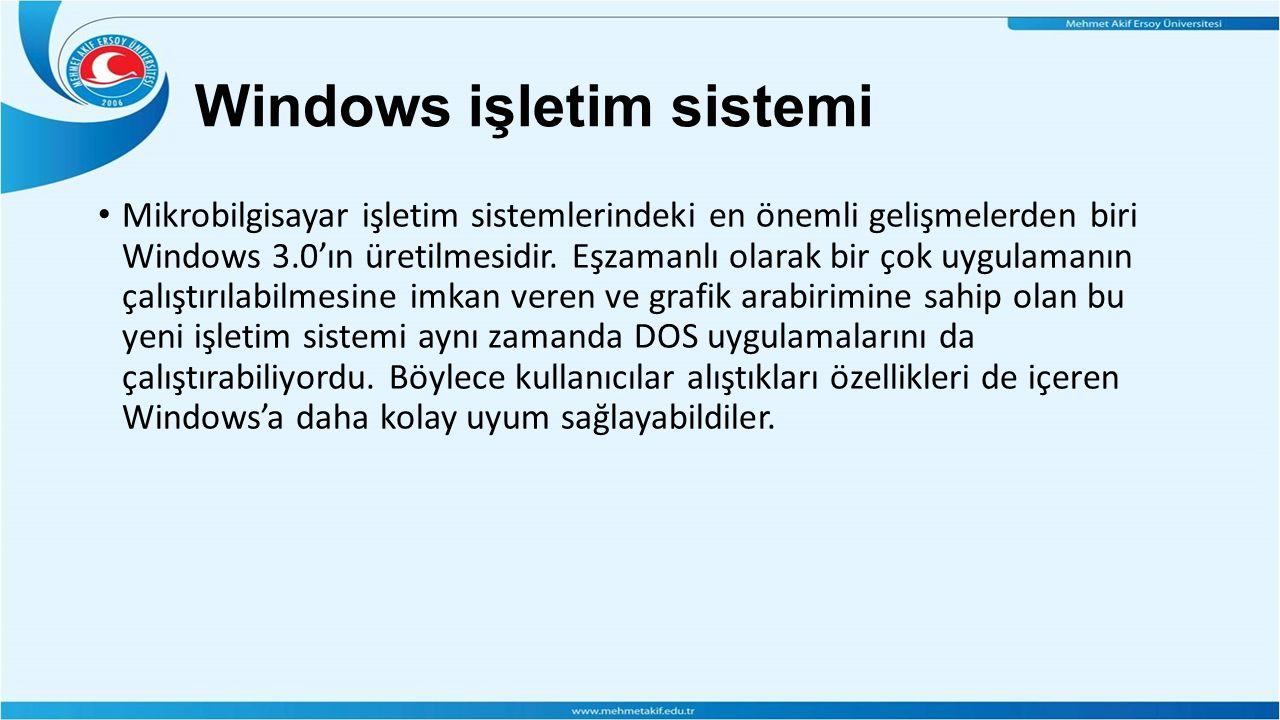 Windows işletim sistemi Mikrobilgisayar işletim sistemlerindeki en önemli gelişmelerden biri Windows 3.0'ın üretilmesidir.