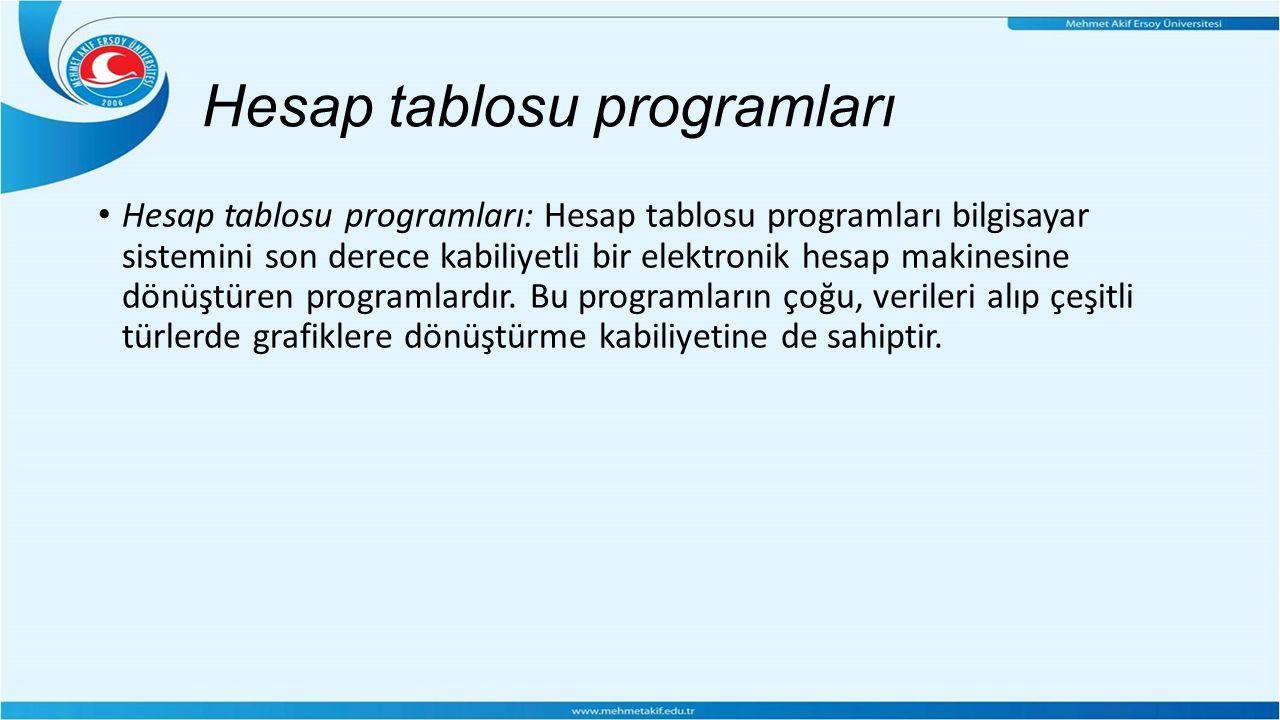 Hesap tablosu programları Hesap tablosu programları: Hesap tablosu programları bilgisayar sistemini son derece kabiliyetli bir elektronik hesap makinesine dönüştüren programlardır.