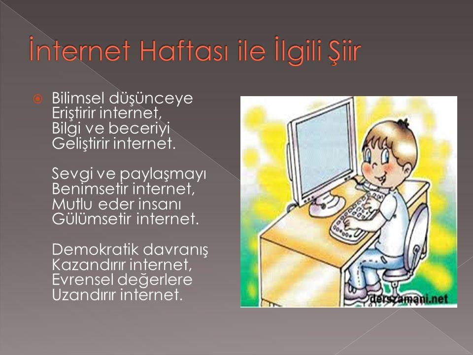  Bilimsel düşünceye Eriştirir internet, Bilgi ve beceriyi Geliştirir internet.