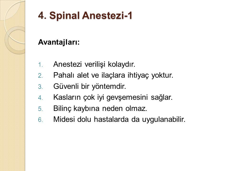 Spinal Anestezi-1 4. Spinal Anestezi-1 Avantajları: 1. Anestezi verilişi kolaydır. 2. Pahalı alet ve ilaçlara ihtiyaç yoktur. 3. Güvenli bir yöntemdir