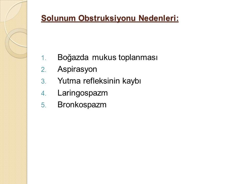 Solunum Obstruksiyonu Nedenleri: 1. Boğazda mukus toplanması 2. Aspirasyon 3. Yutma refleksinin kaybı 4. Laringospazm 5. Bronkospazm