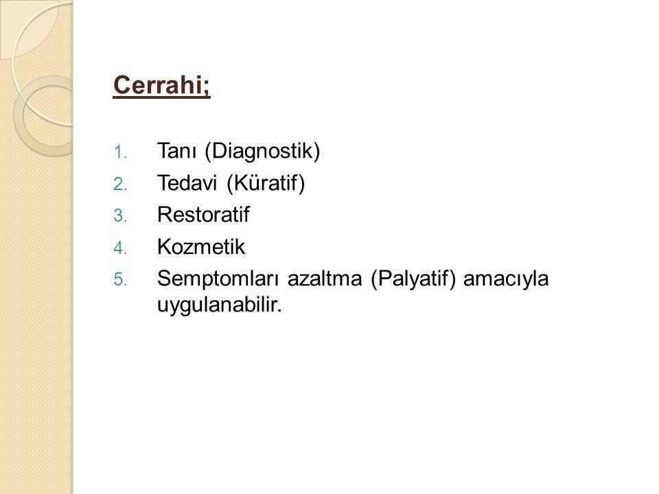 Cerrahi; 1. Tanı (Diagnostik) 2. Tedavi (Küratif) 3. Restoratif 4. Kozmetik 5. Semptomları azaltma (Palyatif) amacıyla uygulanabilir.