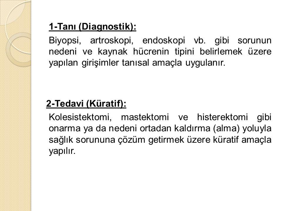 1-Tanı (Diagnostik): Biyopsi, artroskopi, endoskopi vb.