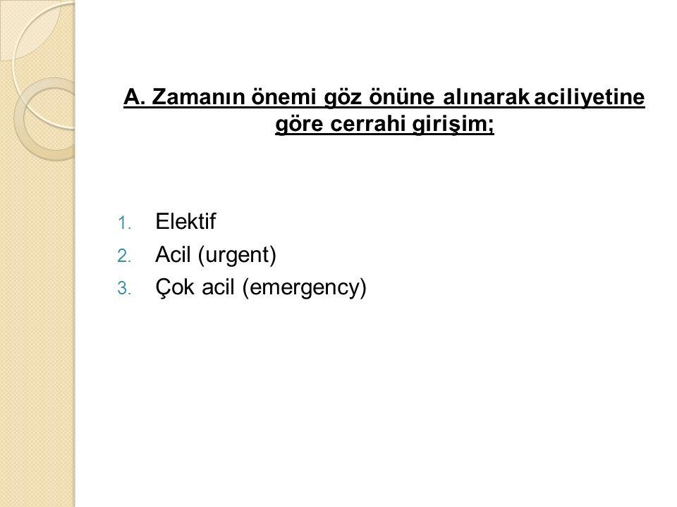 A. Zamanın önemi göz önüne alınarak aciliyetine göre cerrahi girişim; 1. Elektif 2. Acil (urgent) 3. Çok acil (emergency)