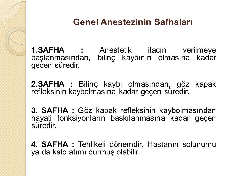Genel Anestezinin Safhaları 1.SAFHA : Anestetik ilacın verilmeye başlanmasından, bilinç kaybının olmasına kadar geçen süredir. 2.SAFHA : Bilinç kaybı