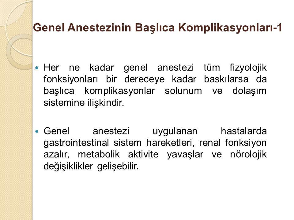Genel Anestezinin Başlıca Komplikasyonları-1 Her ne kadar genel anestezi tüm fizyolojik fonksiyonları bir dereceye kadar baskılarsa da başlıca komplikasyonlar solunum ve dolaşım sistemine ilişkindir.