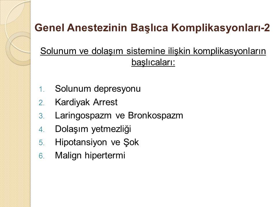 Genel Anestezinin Başlıca Komplikasyonları-2 Solunum ve dolaşım sistemine ilişkin komplikasyonların başlıcaları: 1. Solunum depresyonu 2. Kardiyak Arr