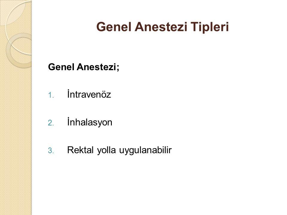 Genel Anestezi Tipleri Genel Anestezi; 1. İntravenöz 2. İnhalasyon 3. Rektal yolla uygulanabilir