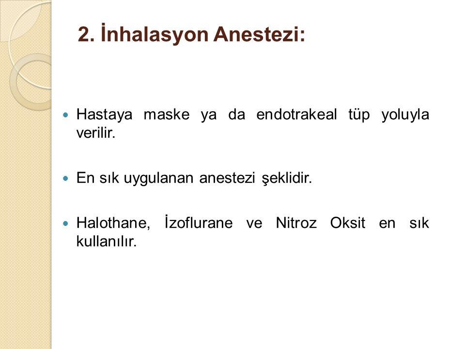 2. İnhalasyon Anestezi: Hastaya maske ya da endotrakeal tüp yoluyla verilir. En sık uygulanan anestezi şeklidir. Halothane, İzoflurane ve Nitroz Oksit