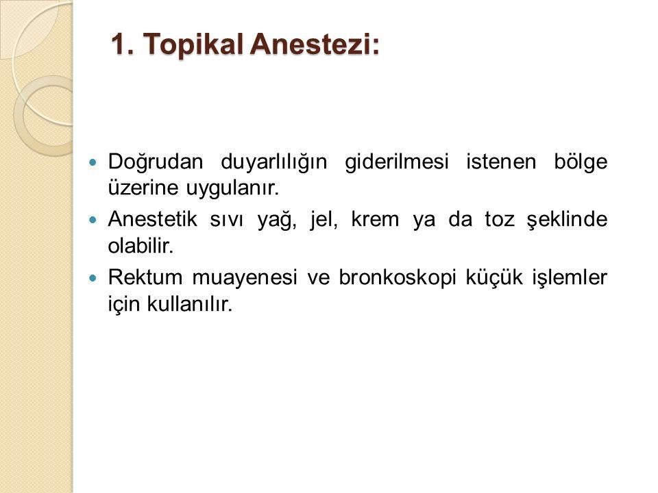 1.Topikal Anestezi: Doğrudan duyarlılığın giderilmesi istenen bölge üzerine uygulanır. Anestetik sıvı yağ, jel, krem ya da toz şeklinde olabilir. Rekt