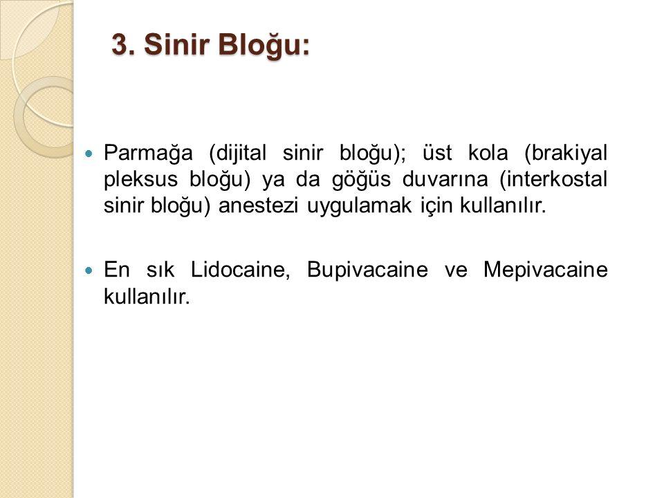 3. Sinir Bloğu: Parmağa (dijital sinir bloğu); üst kola (brakiyal pleksus bloğu) ya da göğüs duvarına (interkostal sinir bloğu) anestezi uygulamak içi