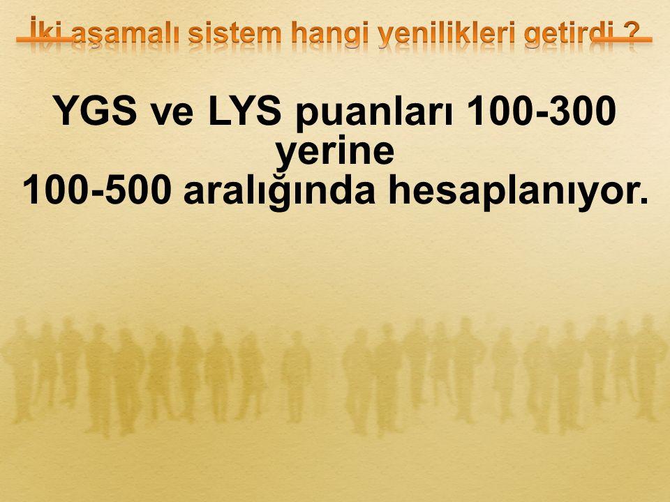 YGS ve LYS puanları 100-300 yerine 100-500 aralığında hesaplanıyor.