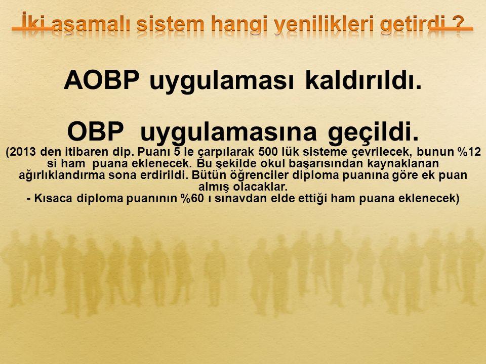 AOBP uygulaması kaldırıldı. OBP uygulamasına geçildi.
