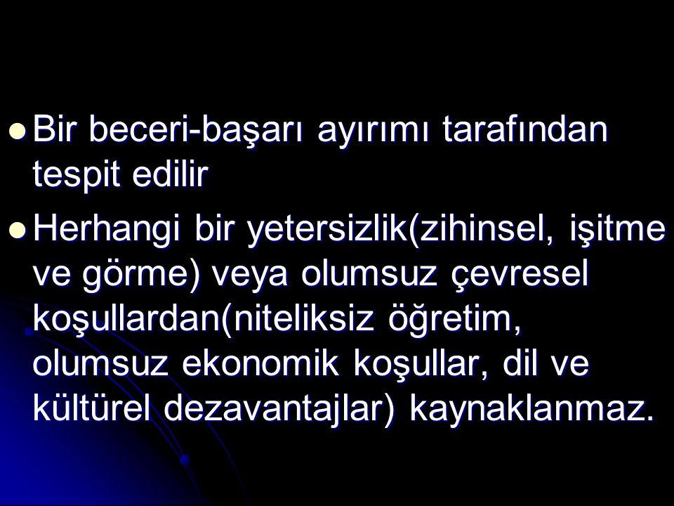 Öğrenme güçlüğü ile ilgili terimler; Öğrenme güçlüğü ile ilgili terimler; Disleksi(okuma güçlüğü-kelime körlüğü) Disleksi(okuma güçlüğü-kelime körlüğü) Asgari düzeyde beyinsel işlev bozukluğu Asgari düzeyde beyinsel işlev bozukluğu Asgari düzeyde beyin hasarı Asgari düzeyde beyin hasarı Dyscalculia(aritmetik işlem yetersizliği) Dyscalculia(aritmetik işlem yetersizliği) Dysgraphia(el yazısı ile yazma yetersizliği) Dysgraphia(el yazısı ile yazma yetersizliği) Algıyla ilgili engeller Algıyla ilgili engeller Hiperaktiviteye bağlı veya bağlı olmayan dikkat eksikliği Hiperaktiviteye bağlı veya bağlı olmayan dikkat eksikliği