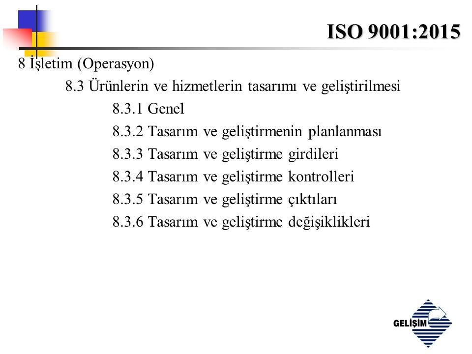 ISO 9001:2015 8 İşletim (Operasyon) 8.3 Ürünlerin ve hizmetlerin tasarımı ve geliştirilmesi 8.3.1 Genel 8.3.2 Tasarım ve geliştirmenin planlanması 8.3.3 Tasarım ve geliştirme girdileri 8.3.4 Tasarım ve geliştirme kontrolleri 8.3.5 Tasarım ve geliştirme çıktıları 8.3.6 Tasarım ve geliştirme değişiklikleri