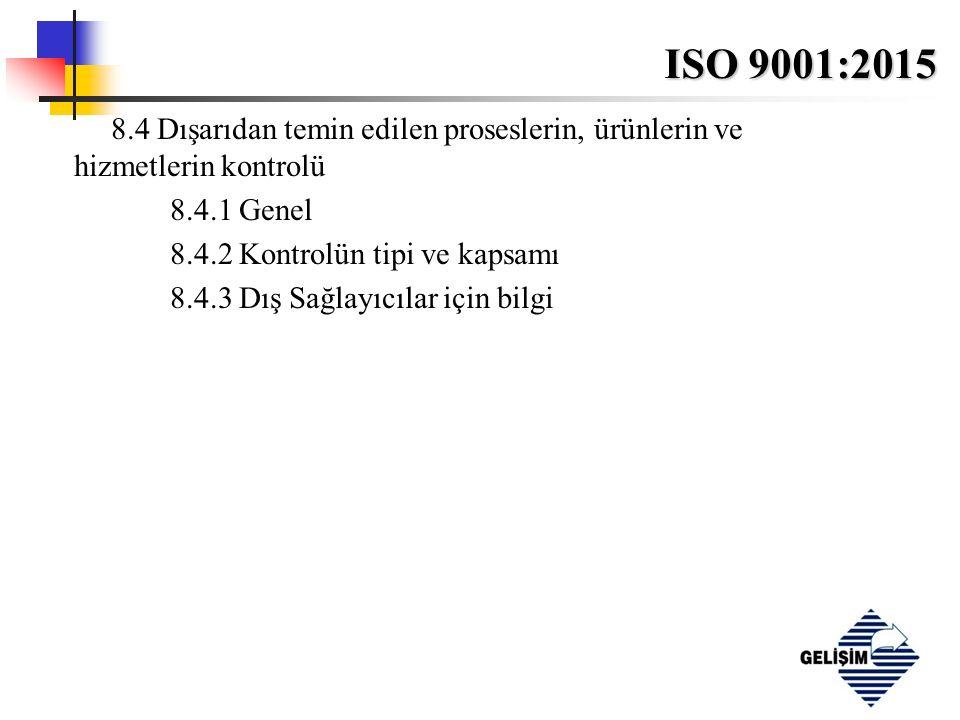 ISO 9001:2015 8.4 Dışarıdan temin edilen proseslerin, ürünlerin ve hizmetlerin kontrolü 8.4.1 Genel 8.4.2 Kontrolün tipi ve kapsamı 8.4.3 Dış Sağlayıcılar için bilgi