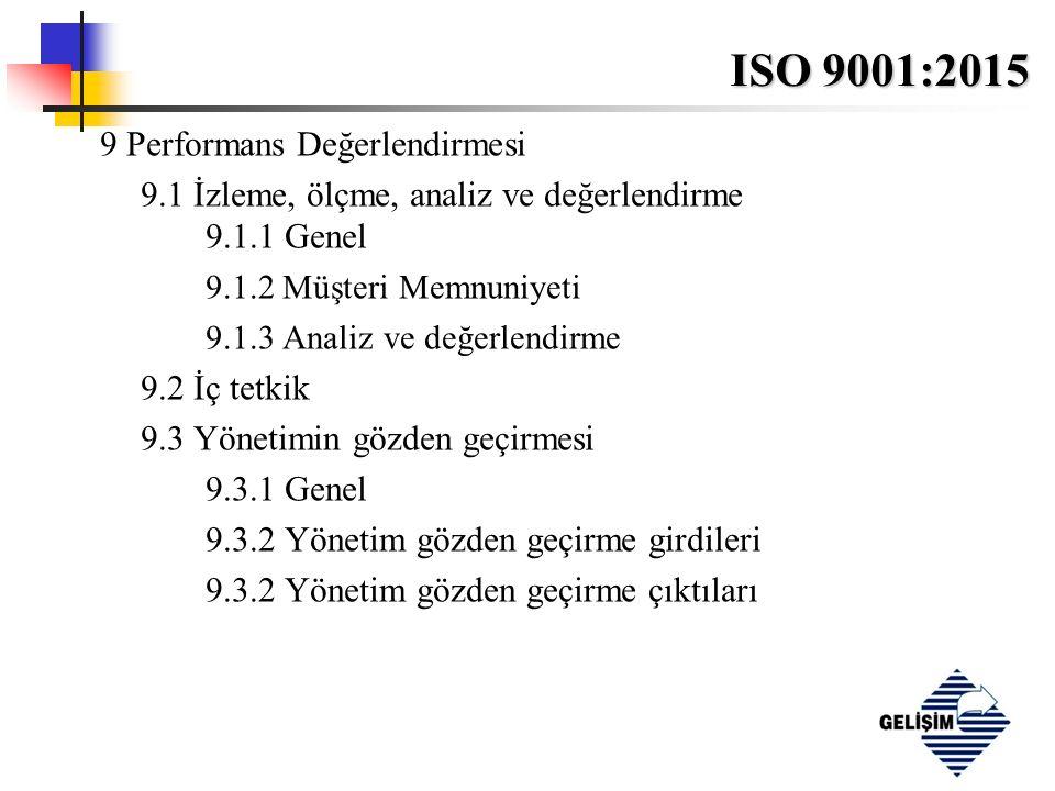 ISO 9001:2015 9 Performans Değerlendirmesi 9.1 İzleme, ölçme, analiz ve değerlendirme 9.1.1 Genel 9.1.2 Müşteri Memnuniyeti 9.1.3 Analiz ve değerlendirme 9.2 İç tetkik 9.3 Yönetimin gözden geçirmesi 9.3.1 Genel 9.3.2 Yönetim gözden geçirme girdileri 9.3.2 Yönetim gözden geçirme çıktıları