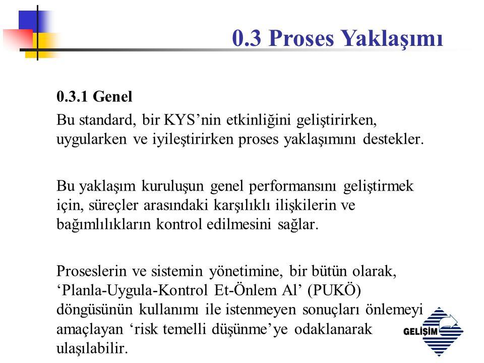0.3.1 Genel Bu standard, bir KYS'nin etkinliğini geliştirirken, uygularken ve iyileştirirken proses yaklaşımını destekler.