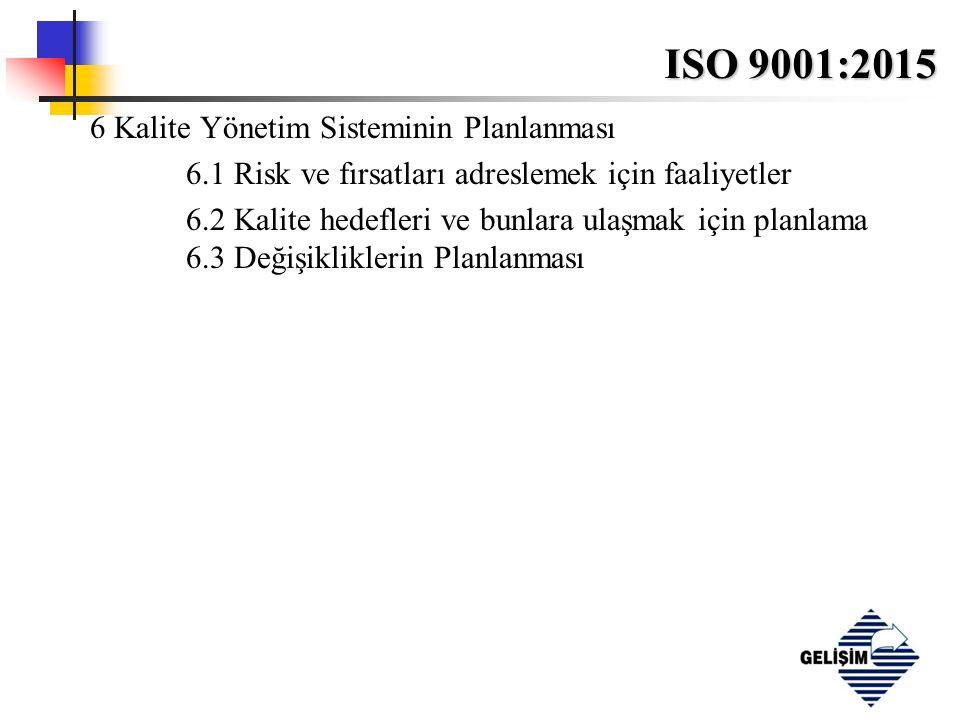 ISO 9001:2015 6 Kalite Yönetim Sisteminin Planlanması 6.1 Risk ve fırsatları adreslemek için faaliyetler 6.2 Kalite hedefleri ve bunlara ulaşmak için planlama 6.3 Değişikliklerin Planlanması