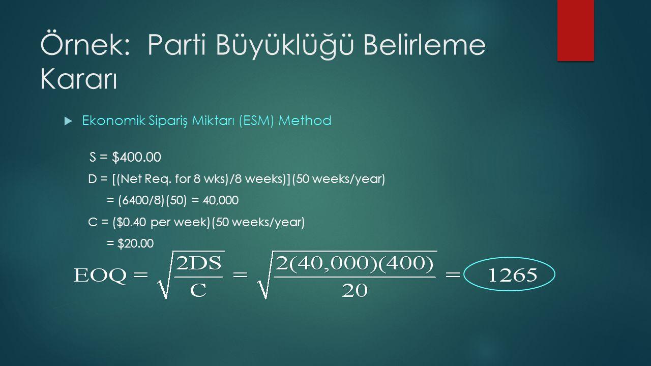 Örnek: Parti Büyüklüğü Belirleme Kararı  Ekonomik Sipariş Miktarı (ESM) Method S = $400.00 D = [(Net Req.
