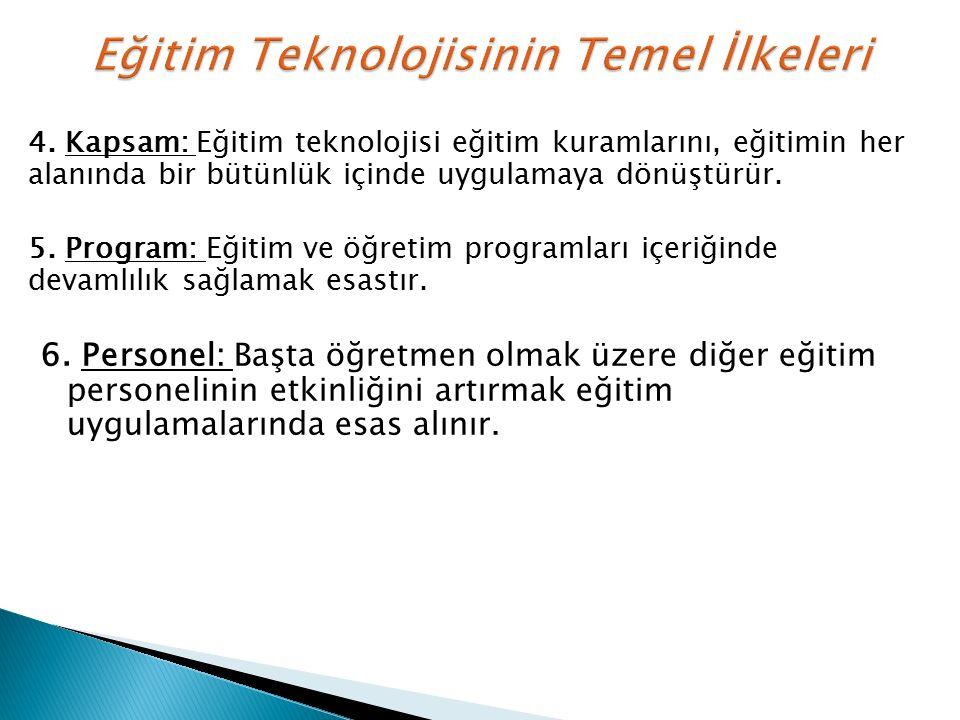 4. Kapsam: Eğitim teknolojisi eğitim kuramlarını, eğitimin her alanında bir bütünlük içinde uygulamaya dönüştürür. 5. Program: Eğitim ve öğretim progr