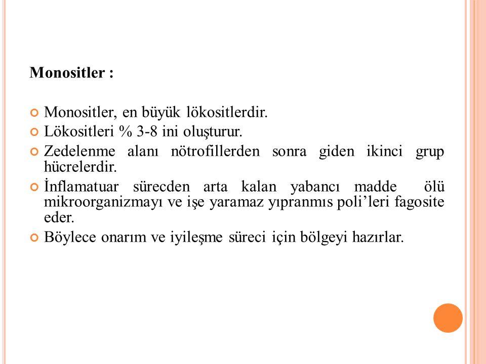 Monositler : Monositler, en büyük lökositlerdir.Lökositleri % 3-8 ini oluşturur.