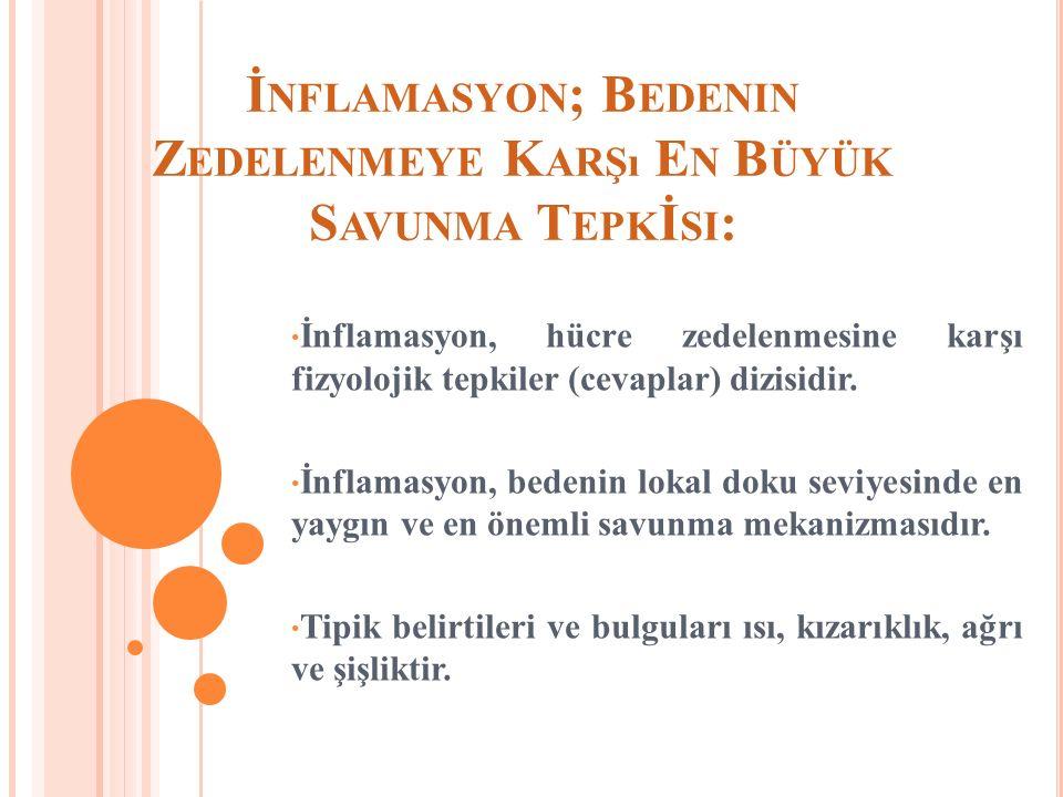 İ NFLAMASYON ; B EDENIN Z EDELENMEYE K ARŞı E N B ÜYÜK S AVUNMA T EPK İ SI : İnflamasyon, hücre zedelenmesine karşı fizyolojik tepkiler (cevaplar) dizisidir.