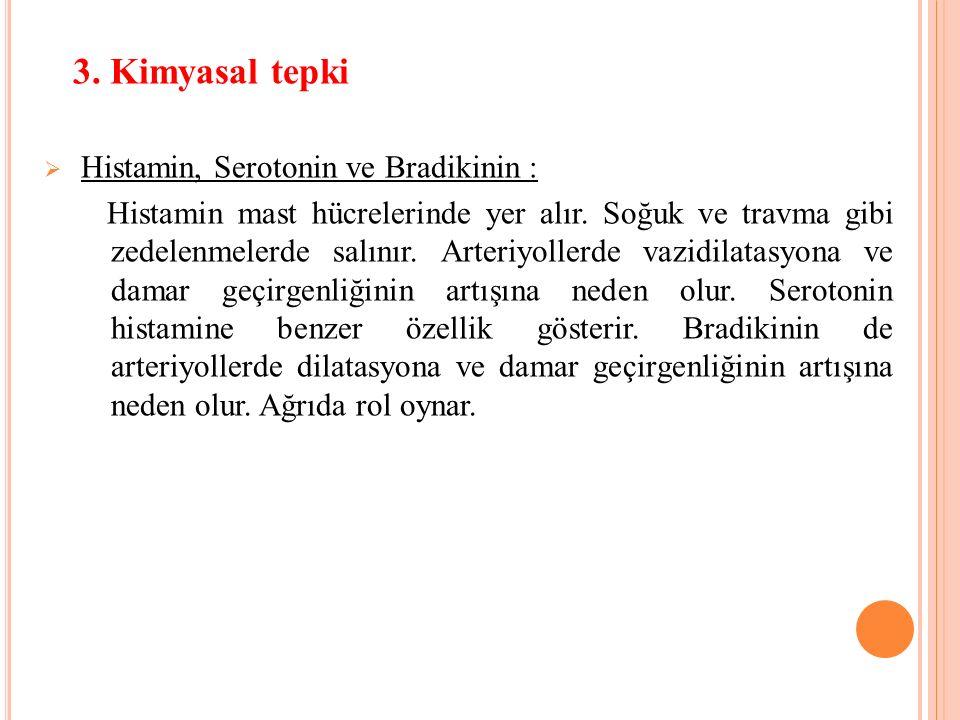 3.Kimyasal tepki  Histamin, Serotonin ve Bradikinin : Histamin mast hücrelerinde yer alır.
