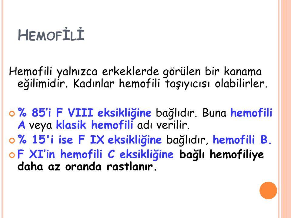 H EMOF İ L İ Hemofili yalnızca erkeklerde görülen bir kanama eğilimidir. Kadınlar hemofili taşıyıcısı olabilirler. % 85'i F VIII eksikliğine bağlıdır.