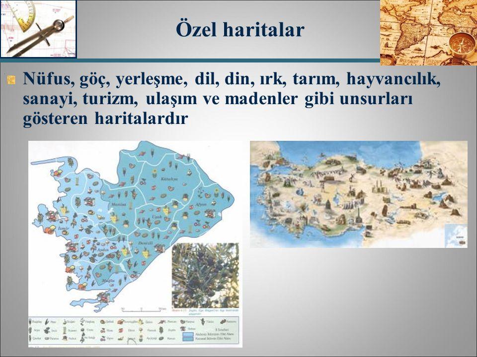 Nüfus, göç, yerleşme, dil, din, ırk, tarım, hayvancılık, sanayi, turizm, ulaşım ve madenler gibi unsurları gösteren haritalardır Özel haritalar