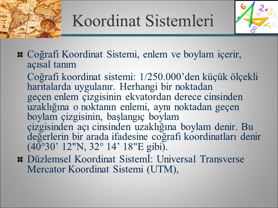 Koordinat Sistemleri Coğrafi Koordinat Sistemi, enlem ve boylam içerir, açısal tanım Coğrafi koordinat sistemi: 1/250.000'den küçük ölçekli haritalard