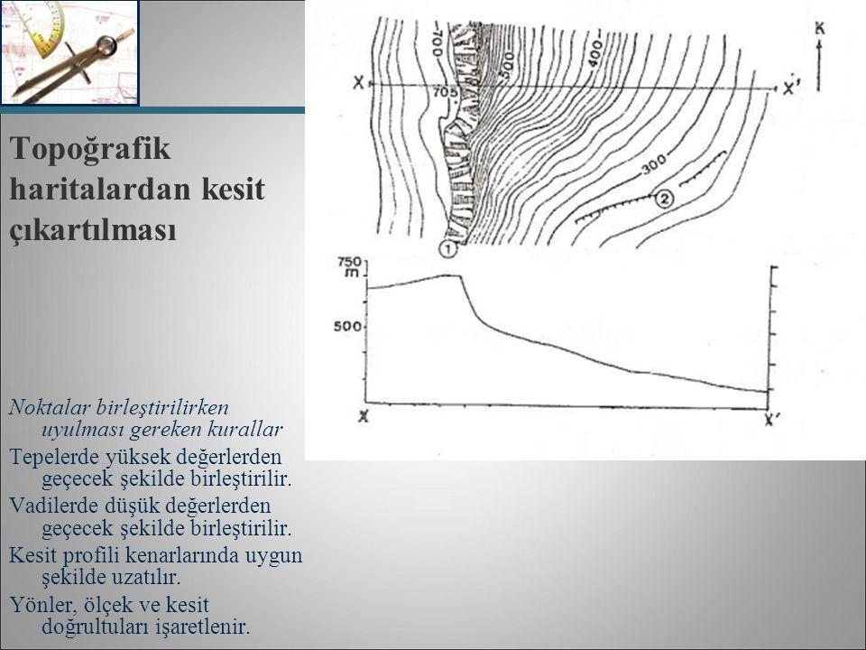 Topoğrafik haritalardan kesit çıkartılması Noktalar birleştirilirken uyulması gereken kurallar Tepelerde yüksek değerlerden geçecek şekilde birleştiri