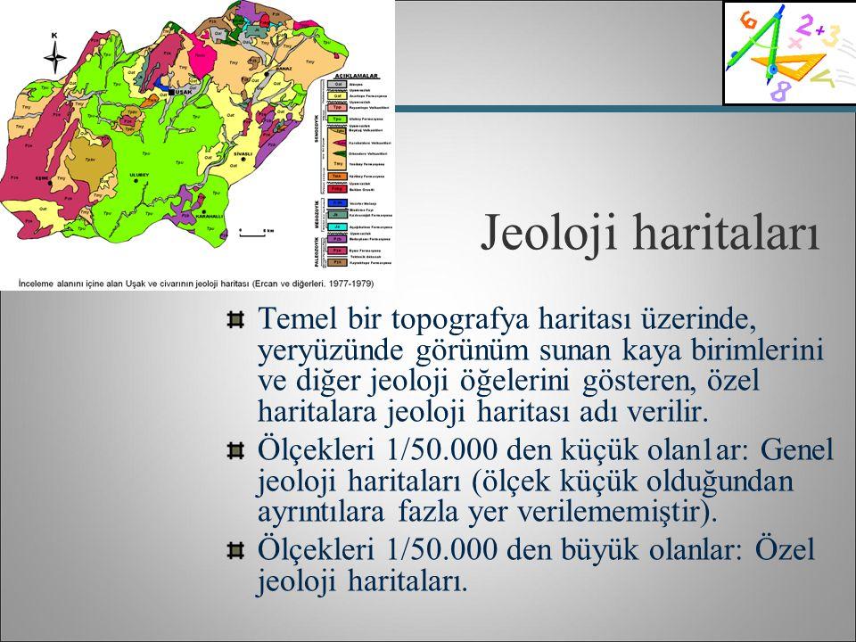 Jeoloji haritaları Temel bir topografya haritası üzerinde, yeryüzünde görünüm sunan kaya birimlerini ve diğer jeoloji öğelerini gösteren, özel harital
